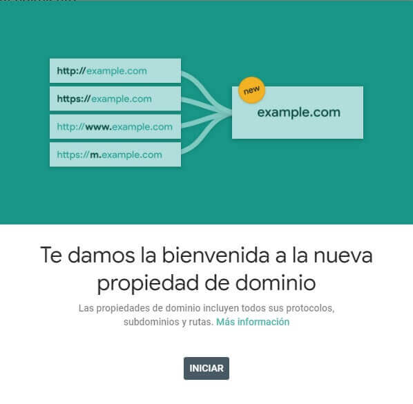 tutorial google search console propiedad de dominio verificada