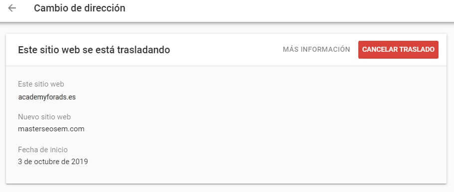 tutorial search console cambio de direccion cancelar