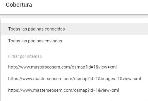 tutorial search console cobertura selector