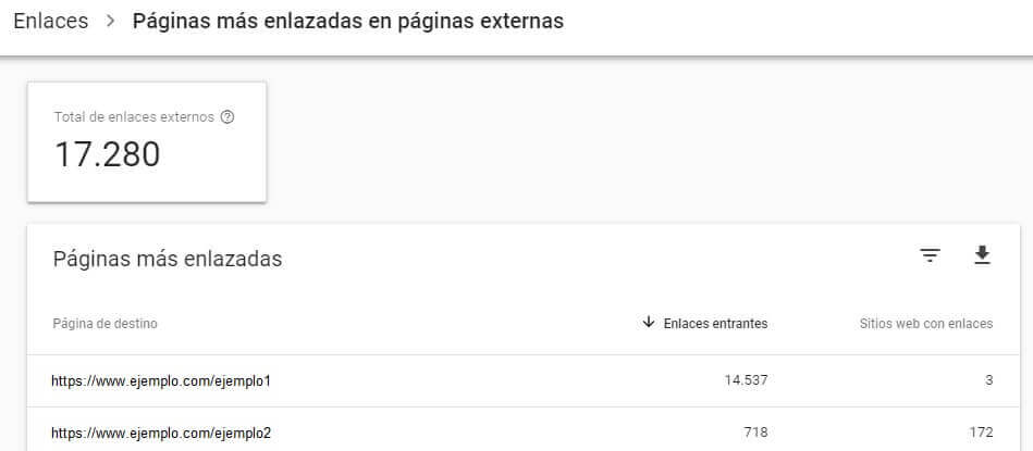 tutorial search console informe enlaces externos