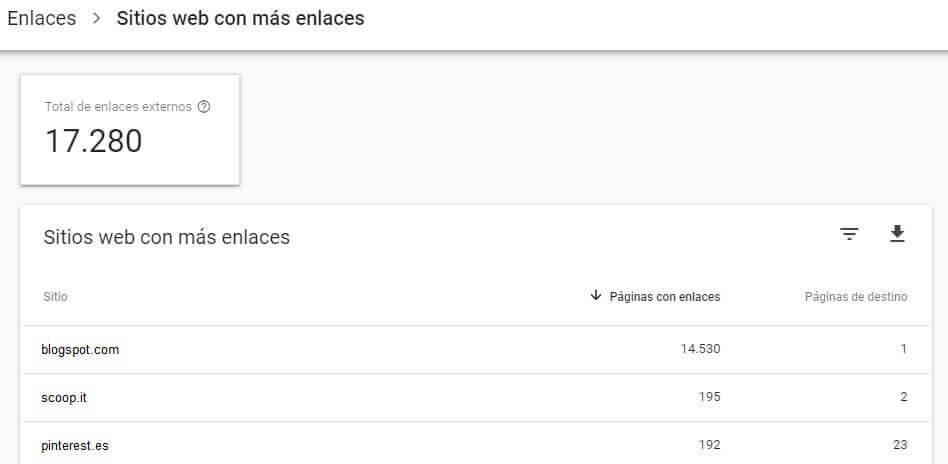tutorial search console informe enlaces páginas externas