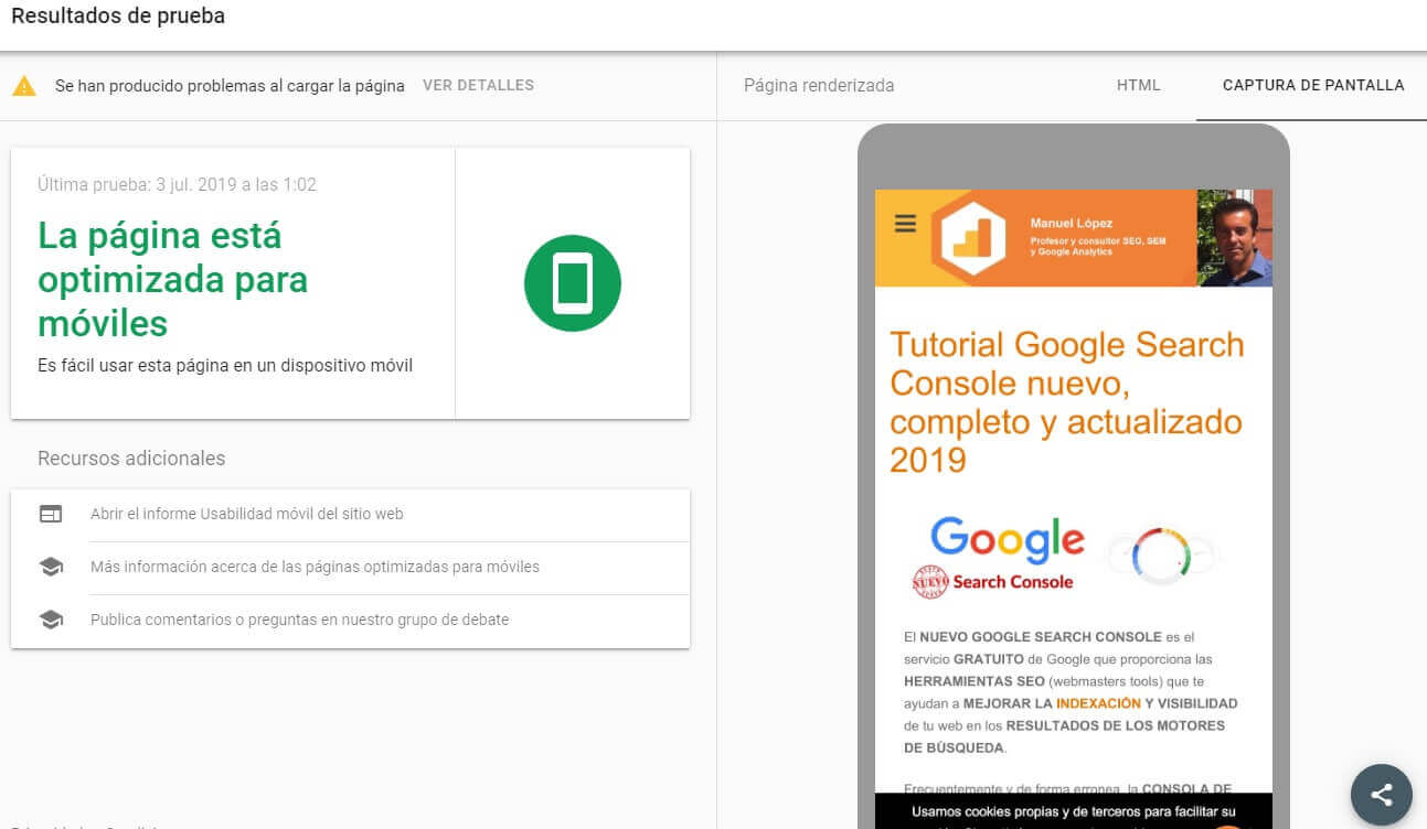 tutorial search console prueba optimizacion para moviles resultado
