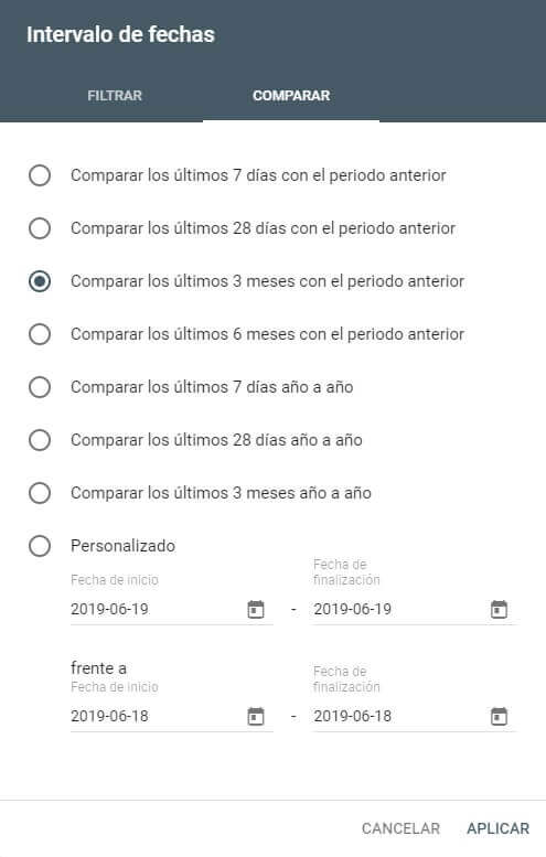 tutorial search console selector de filtros fechas comparar