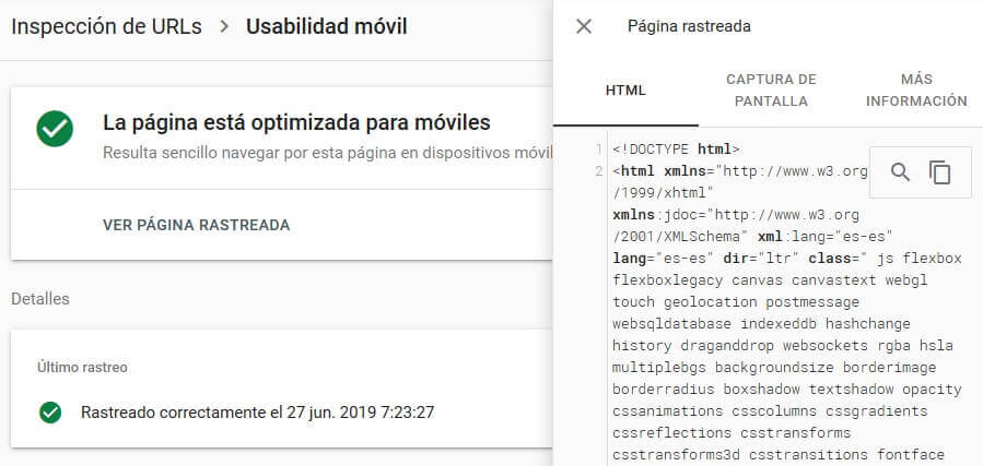 tutorial search console ver pagina rastreada