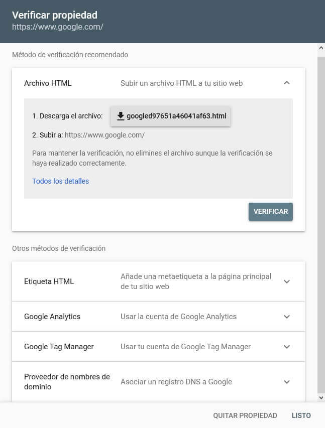 tutorial search console verificar propiedad 5 metodos
