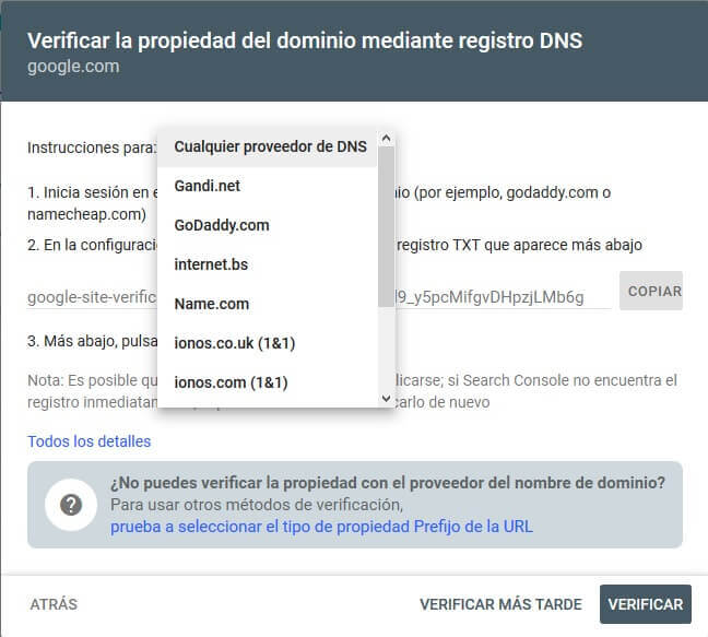 tutorial search console verificar propiedad dominio auto dns