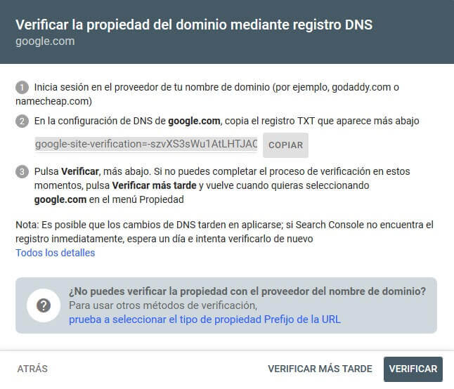 tutorial search console verificar propiedad dominio