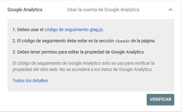 tutorial search console verificar propiedad google analytics
