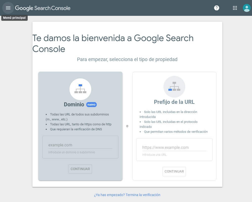 tutorial search console verificar propiedad